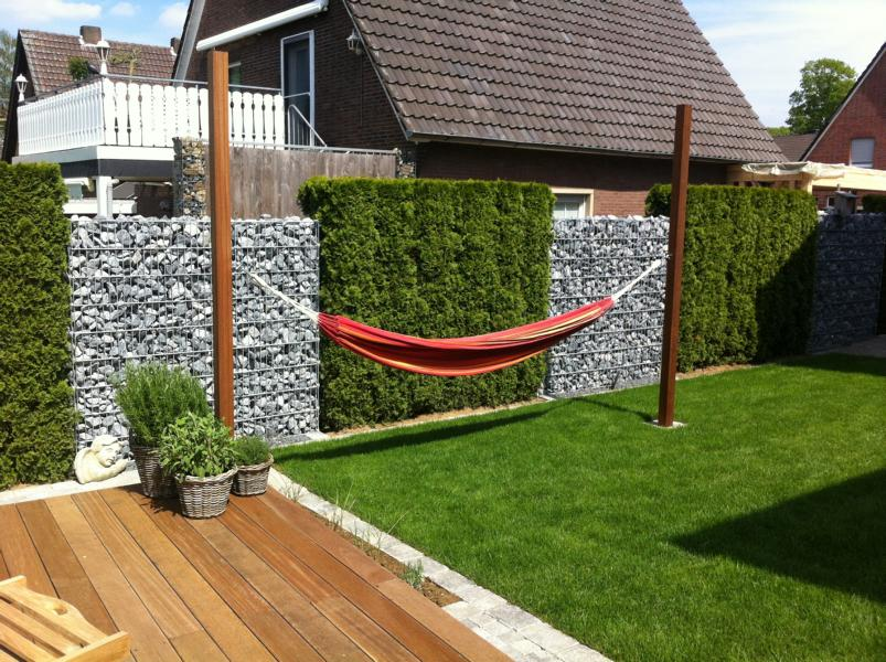 Steinzaun und Hängematte Korte Garten- und Landschaftsbau
