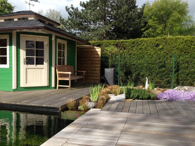 Holzarbeiten Teich Gartenhaus