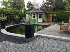 Teich Terasse Gartenhaus Korte Garten- und Landschaftsbau